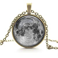 Adecco LLC Full Moon Necklace, Space Picture Pendant, Galaxy Pendant Necklace, Valentine gift for Grilfriend/Boyfriend (Black)