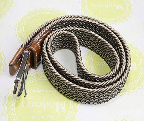 Modeway Casual Muticolor Elastic Stretch Braided Belts For Men Women Fashion Accessories (Small, Khaki + Black)r001-1