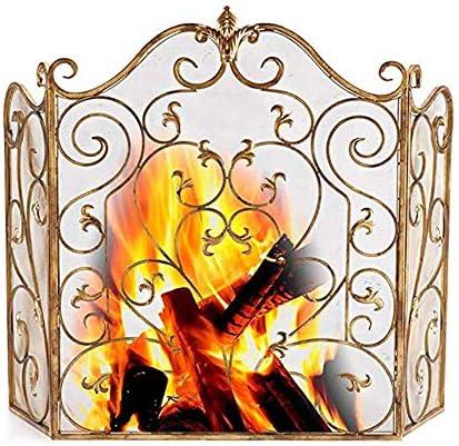 暖炉スクリーン メッシュカバー、錬鉄ゴールドメタル暖炉スクリーンインテリアメッシュ、薪ストーブスパークガードカバー付き3-パネル暖炉スクリーン