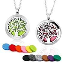 BRIGHTSHOW Aromatherapy Essential Oil Diffuser Necklace-Stainless Steel Tree of Life Locket Pendant,10 Refill Pads