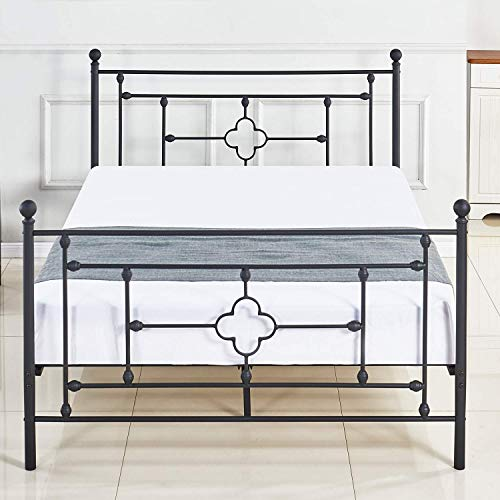 (DIKAPA Metal Platform Bed Frame Queen Size with Headboard and Footboard 9 Legs Mattress Foundation Heavy Duty Box Spring Replacement for Kids Adult Victorian Style Black)
