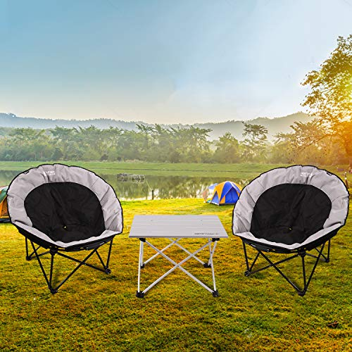 REDCAMP Oversized Moon Chairs for Adults, Comfy Portable Folding Saucer Chair for Bedroom Living Room Dorm, Black and Gray Small
