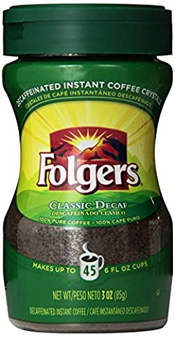 Folgers Classic Decaf Instant Coffee, 3 Ounce - Caffeine Free Coffee