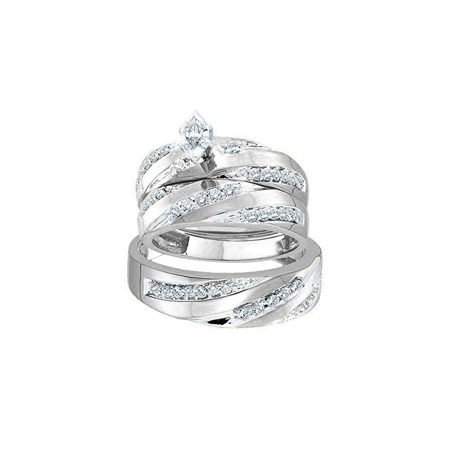 Dazzlingrock Collection 0.60 Carat (ctw) 10K Gold Marquise & Round Cut Diamond Men & Women's Engagement Ring Trio Bridal Set
