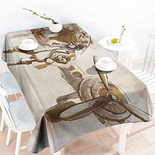 (EwaskyOnline Elastic Tablecloth Rectangular,Airplane Watercolor Design of a Pilot with His Aircraft Flying Aviation Theme Traveling,Resistant/Spill-Proof/Waterproof Table Cover,W60X90L, Brown Beige)