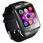 Qiufeng Q18 Smart Watch Smartwatch Bluetooth Sweatproof Phone with Camera TF/SIM Card Slot for Android and IPhone Smartphones for Kids Girls Boys Men Women(Black)