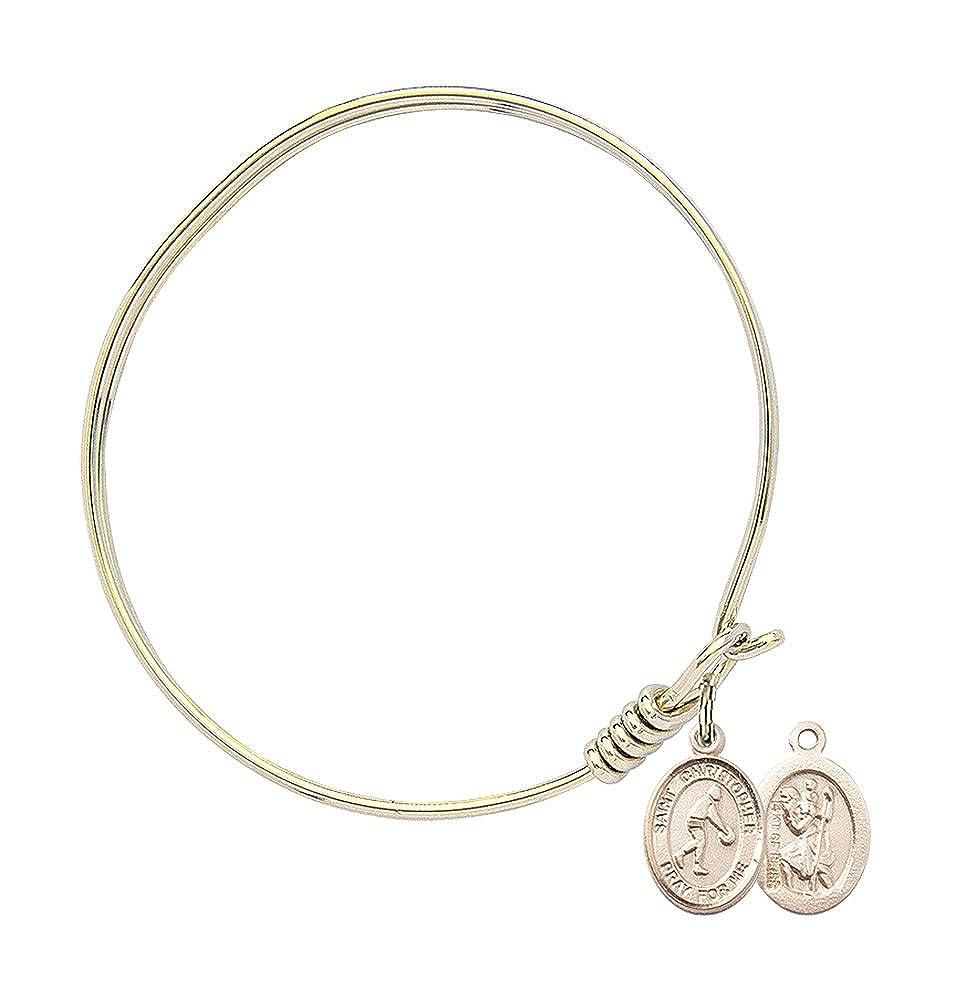 Christopher//Basketball in Gold-Filled Bonyak Jewelry Round Eye Hook Bangle Bracelet w//St