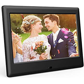 DBPOWER 7 Inch Digital Picture Frame - Upgraded Digital Photo Frame with (16:9) HD 1024x600 IPS Display, Photo/Music/Video Player/Calendar/Clock/Auto-On/Off Timer, Advertising Player with Remote