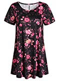 Esenchel Women's Short Sleeve Patterned Tunic Top 3X Rose Plants