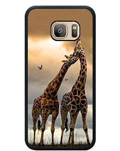 Cell World LLC - Drop Proof Designer Pair Giraffes Designer Animal Pattern Design Print Cover Case for Samsung Galaxy S8 (5.8 inch) Giraffe Print Black TPU Case