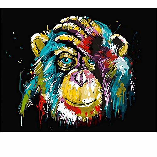 SUBERY DIY Acrylic Painting Paint by Numbers Kits by Hand Colouring for Adults Kids Beginner Gifts - 16x20 inches (Frameless) (Colored Orangutan)