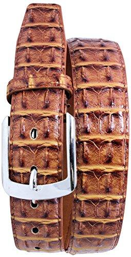 [Enimay Men's Crocodile Genuine Leather Belt Adjustable Screwed Metal Buckle Tan Large (38-41)] (Crocodile Belt)