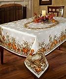 Benson Mills Turkey Festivities Engineered Border Tablecloth, 60 by 120-Inch