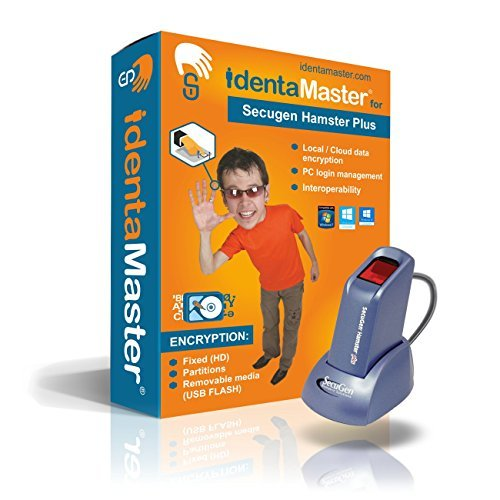 IdentaMaster Biometric Security Bundle with SecuGen Hamster Plus-HSDU03P - Encryption, PC Login for Windows 7/8/10 by IdentaZone