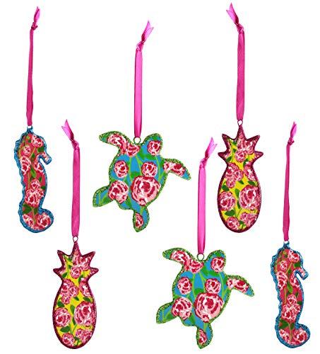 Theme Tropical (Decorae Tropical Sea Theme Set of 6 Porcelain Christmas Ornaments, Preppy Collection)