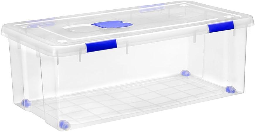 Gran caja de clasificación de plástico con ruedas (Mod. 17), Natural: Amazon.es: Hogar