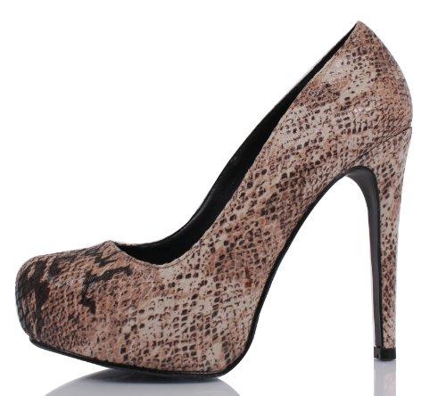 Delicious Yaris Python Snake Almond Toe Leather Hidden Platform High Heel 5 Pump Taupe 4oMu4