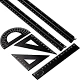 Leinuosen 6 Pieces Aluminum Triangular Architect Scale Ruler Set, 2 Pack 12 Inch Aluminum Scale Ruler with 4 Pieces Aluminum Triangle Ruler Square Set for Architects, Students, Draftsman and Engineers