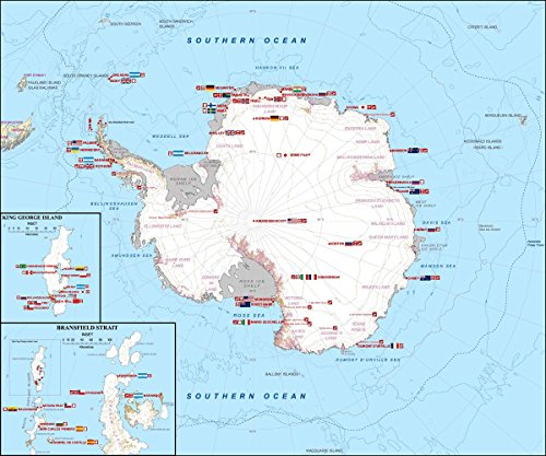 Gifts Delight Laminated 20x17 Poster: Antarctica Station Map