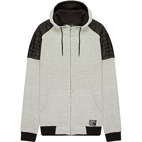 Cheater Panel (Alpha Beta Full-Zip Hoodie Wind Cheater With Zip Hood and Quilted Panel Shoulder - Men's Grey/Black, M)