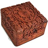StarZebra Jewelry Box - Novelty Item, Unique Artisan Traditional Hand Carved Rosewood Jewelry Box From India