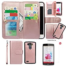 Case for LG G3, xhorizon TM FLK Premium Leather Folio Wallet Magnetic Detachable Removable Wristlet Purse Multiple Card Slots Cover for LG G3 with 9H Tempered Glass Film