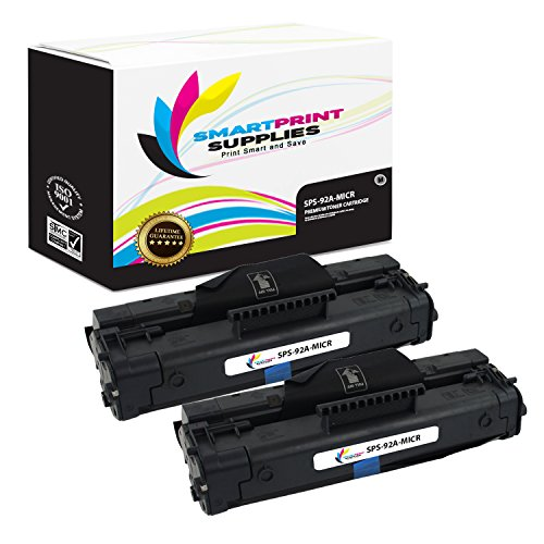 3200 Micr Toner (Smart Print Supplies C4092A 92A MICR Black Premium Compatible Toner Cartridge Replacement for HP LaserJet 1100 3200 Printers (2,500 Pages) - 2 Pack)