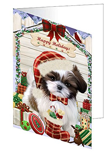 Happy Holidays Christmas Shih Tzu Dog House with Presents Note Card NCD58559 (10)