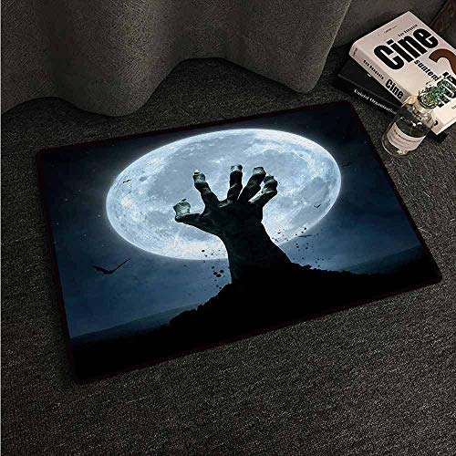HCCJLCKS Door mat Customization Halloween Realistic Zombie Earth Soil Full Moon Bat Horror Story October Twilight Themed Machine wash/Non-Slip W31 xL47 Blue Black ()