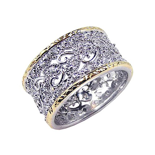 - Double Accent Sterling Silver Rhodium Plated, Two Tone Border CZ Heart Band Womens Ring Size 5