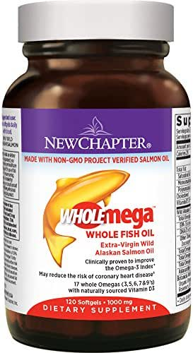 New Chapter Fish Oil Supplement - Wholemega Wild Alaskan Salmon Oil with Omega-3 + Vitamin D3 + Astaxanthin + Sustainably Caught - 120 Count