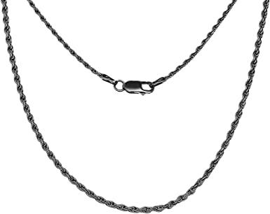 Sterling Silver Antique Vintage Style Classic Black Rope Chain 1 5mm Necklace 16 Amazon Com