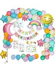 Verjaardagsdecoraties Meisjes Pastel, Feestdecoratie Ballonnen met Gelukkige Verjaardag Banner, Wolken Regenboog, Zon Maan Sterfolie Ballon voor meisjes Vrouwen Verjaardag, baby shower, Geslacht Onthullen Meisjes Jongen