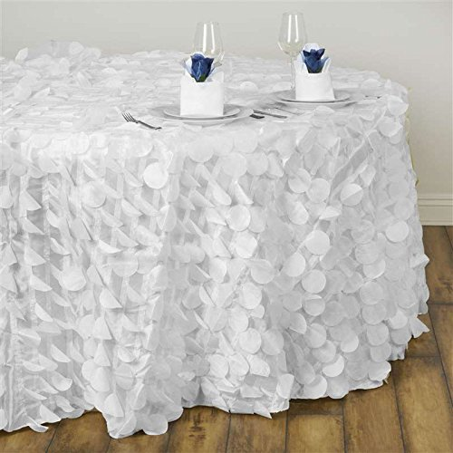 BalsaCircle 120-Inch White Round Raised Petals on Taffeta Tablecloth Table Cover Linens for Wedding Party Kitchen Dining Events