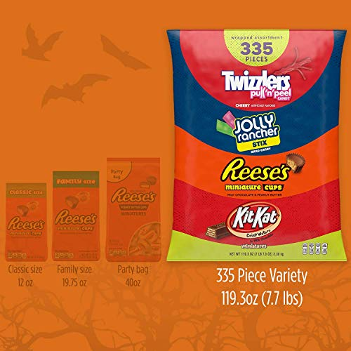 Large Product Image of HERSHEY'S Halloween Candy Assortment, Bulk Candy, JOLLY RANCHER, KIT KAT, REESE'S, and TWIZZLERS, 335 Pieces