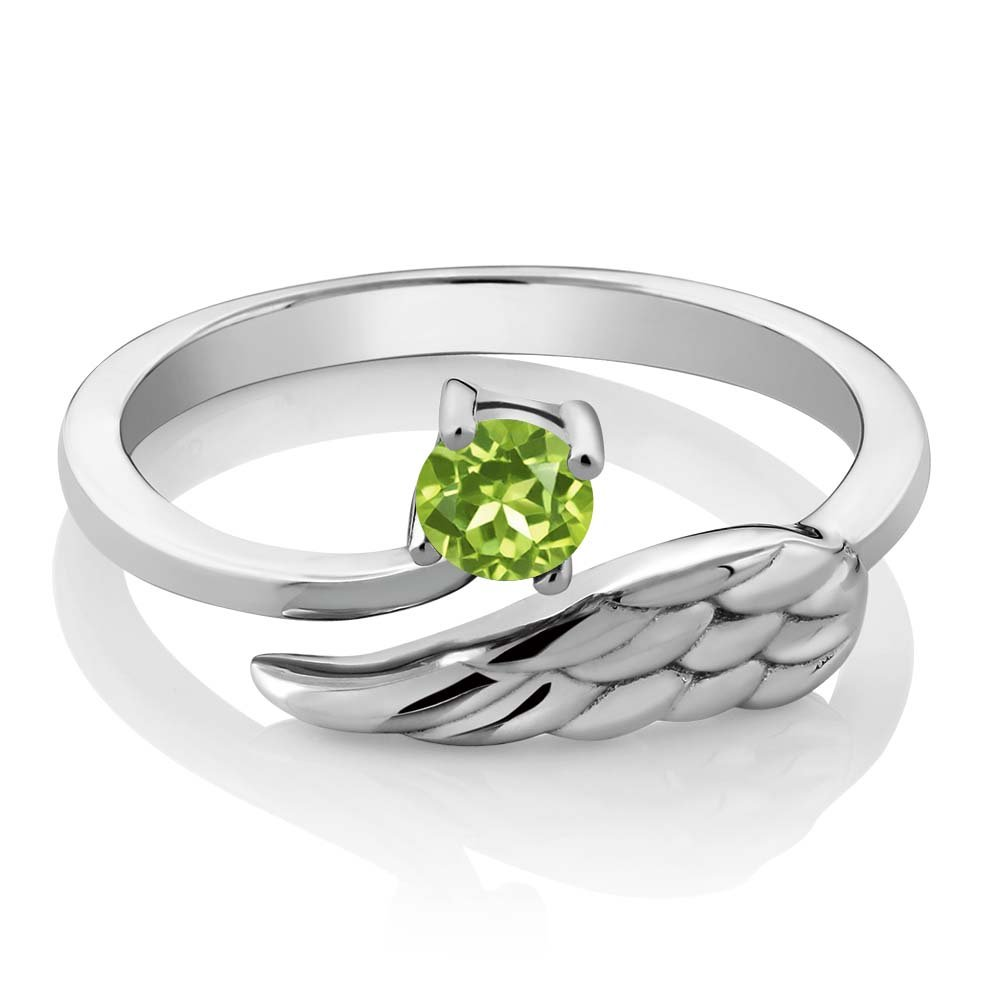 Gem Stone King 925 Sterling Silver Green Peridot Women s Wing Ring 0.30 Ct Round Gemstone Birthstone Available 5,6,7,8,9