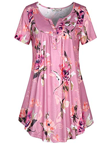 SeSe Code T Shirts for Women,Female Tops Scoop Neck Flattering Clothes Short Sleeve Fit Knit Tunic A-line Hem Stretch Floral Flowy Blouse Pink X-Large