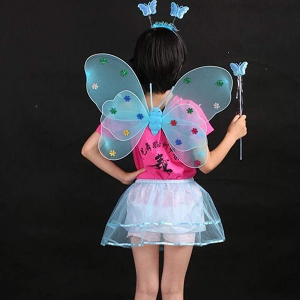 YO-HAPPY Set di Costumi da Fata per Ragazze da 4 Pezzi Gonna Tutu in Mesh a Strati Irregolari Fata Bacchetta Fascia Festa di Compleanno Performance Stage Dress