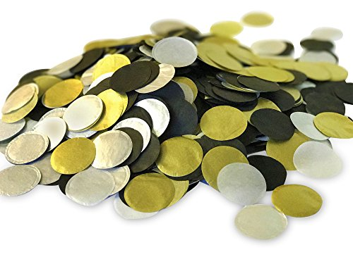 "Biodegradable Paper Confetti for Holiday, Anniversary, Birthday, Graduation, Wedding, Bridal & Baby Parties. 1"" Circles (30 grams) (Black/Gold/Silver)"
