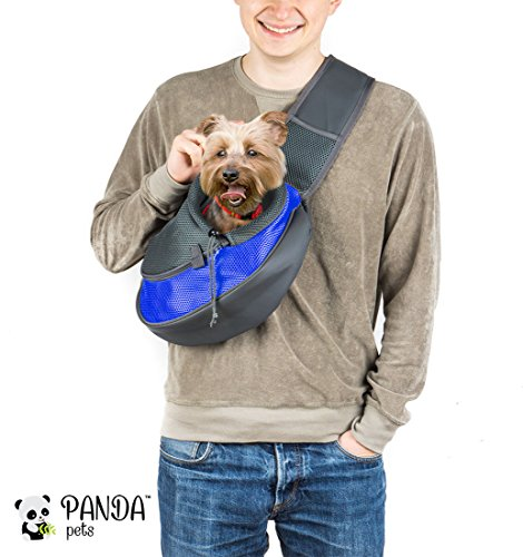 Pet Sling Carrier by Panda Pets - Small Dog Cat Sling Pet Carrier Bag Safe Reversible Comfortable Machine Washable Adjustable Pouch Single Shoulder Carry Tote Handbag for Pets Below 9.9 lb (Blue)