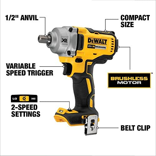 DEWALT 20V MAX XR Cordless Impact Wrench Kit with Detent Pin Anvil, 1/2-Inch, Tool Only (DCF894B)