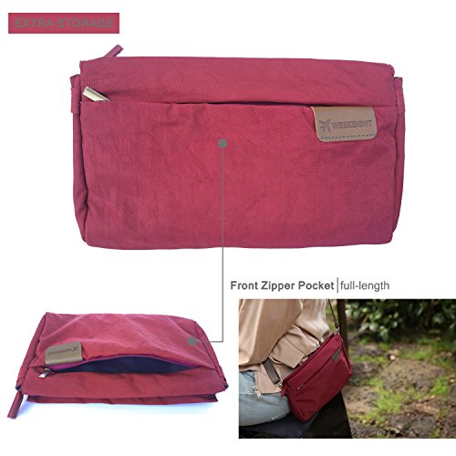 Nylon Waterproof Crossbody Burgundy Outdoors Lightweight small Bag Travel Purse Satchel FanCarry Tdwq1OT