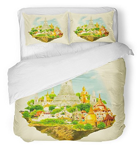Emvency Bedsure Duvet Cover Set Closure Printed Thailand Watercolor Bangkok City Thai Buddha Color Water Panoramic Drawing Travel Decorative Breathable Bedding With 2 Pillow Shams Full/Queen Size by Emvency