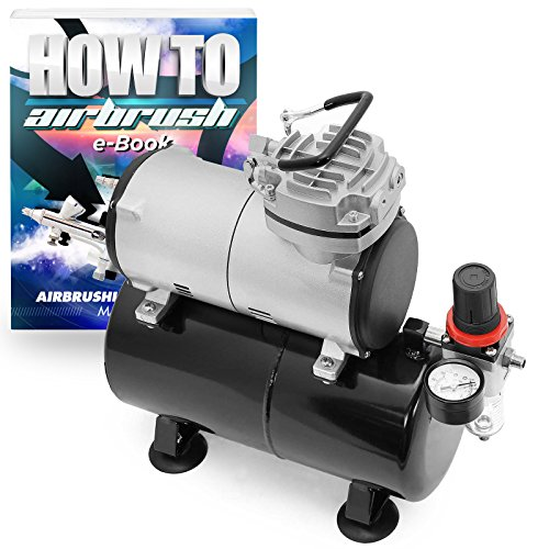 PointZero 1/5 HP Airbrush Compressor - Portable Quiet Hobby Oil-less Air Pump with Tank