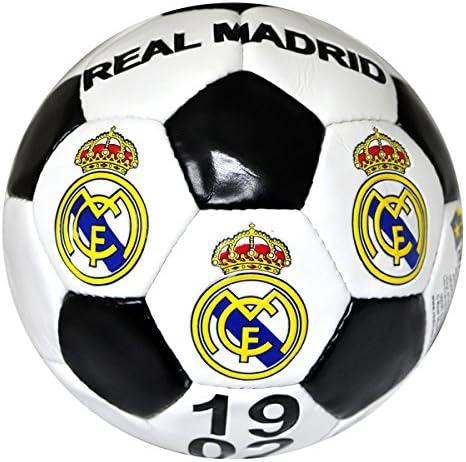 Real Madrid, balón de futbol , tamaño 5 , blanco y negro: Amazon ...