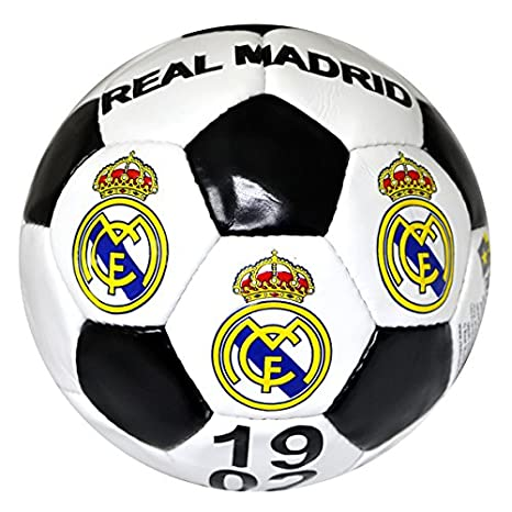 Real Madrid, balón de futbol , tamaño 5 , blanco y negro: Amazon ...