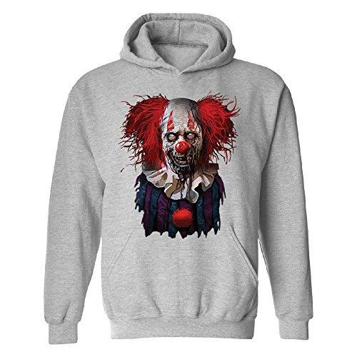 Scary Zombie Clown Unisex Hoodie Scared Fancy Halloween Costume Oct. 31st Sports Grey (Oct 31 Halloween Day)