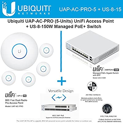 Ubiquiti Network UAP-AC-PRO-5 UniFi Access Point 5GHz Wi-Fi System 802.11ac + US-8-150W UniFi Managed Switch PoE+ Gigabit 8-Ports with SFP