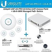 Ubiquiti UAP-AC-PRO-5 Pack UniFi Access Point + US-8-150W Managed PoE+ Switch