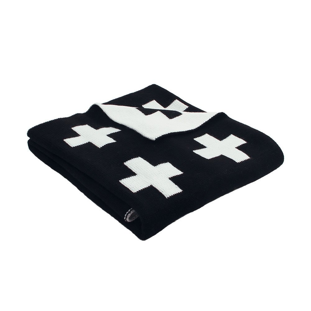 mimixong Baby Blankets Knitted Toddler Blankets Black and White with Cross Swiss Pattern for Boy and Girl 30×40 Inch Black